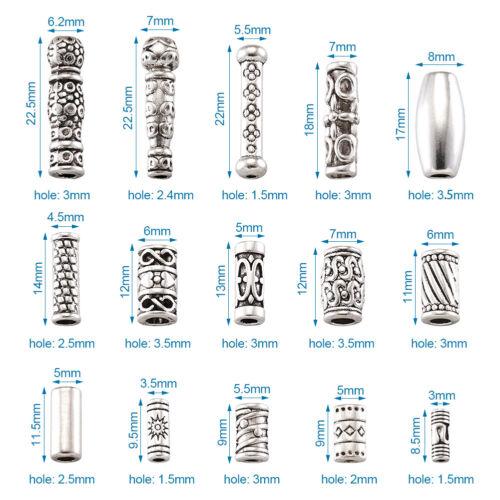 150pcs Mixed Tibetan Silver Alloy Column Beads Mini Metal Tube Spacer 8.5~22.5mm