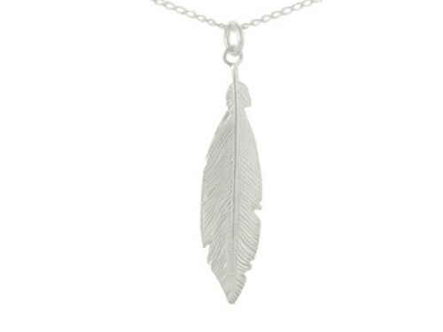 925 Sterling Silver Feather Pendant Necklace Medium