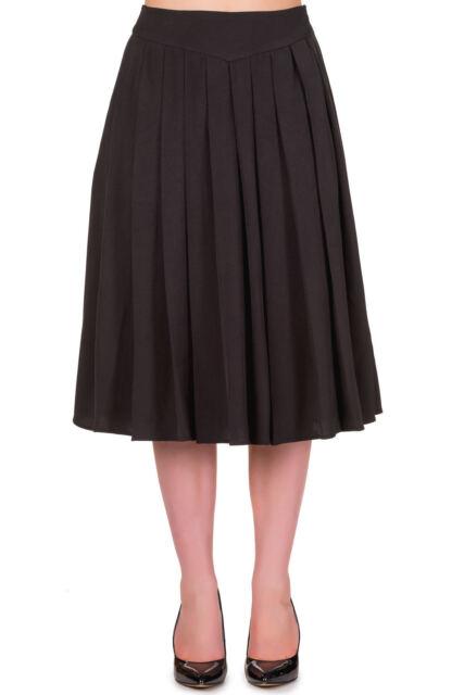 Banned Rockabilly Style Pleated Plain Midi Vintage Skirt 8 10 12 14 16 BLACK