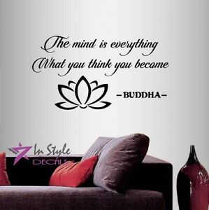 Vinyl Decal Mind Is Everything Buddha Quote Wisdom Lotus Flower Wall