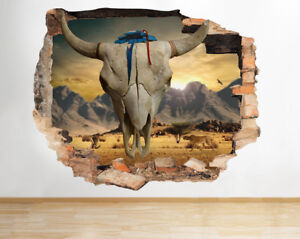 N bull skull animal western smashed wall decal d art stickers