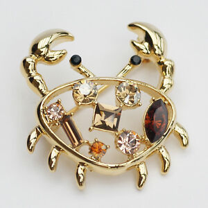 4087fb0b61b Image is loading 14k-Gold-plated-with-Swarovski-crystals-crab-brooch-