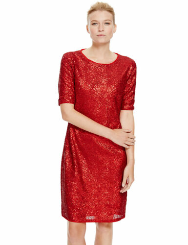 M/&S Collection Red Sequin Shift Dress Sz UK 8 long /& 10 16 regular /& 14 short