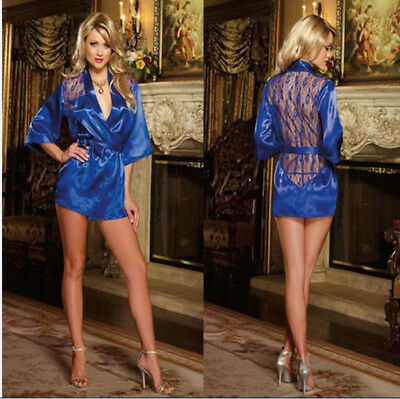 Women's Nightdress+G-string Thongs Satin Robe Lace ROBE Gown Bathrobes Nightie