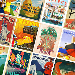 VINTAGE-TRAVEL-POSTERS-A4-A3-Retro-Prints-Home-Wall-Art-Decor