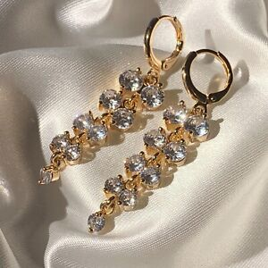 Real-Gold-Drop-Dangle-Earrings-Sim-Diamond-Swarovski-Elements-47x11mm-14kGF-BOXD