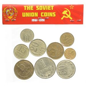 FULL-USSR-COINS-SET-9-SOVIET-COINS-8-KOPEKS-1-ROUBLE-COIN-1961-1991-CCCP-MONEY