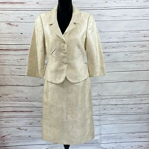 Tahari ASL Women's 2PC Skirt Suit Blazer Button Beige Floral Embroidered Size 8