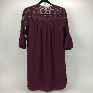 Pleione-Anthropologie-Dress-Burgandy-1-4-Bell-Sleeve-Laced-Detail-Womens-Size-XS