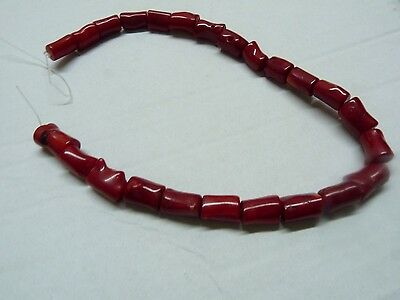 Vintage Natural Corals Jewelry Necklace Dyed Deep Red Length 40 Cm Dependable Performance