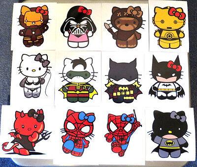 HELLO KITTY  SPIDERMAN,IRON MAN,BATMAN,THOR - MANY  SUPER HERO DECALS-STICKERS