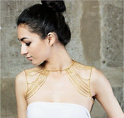 Occident Fashion Sexy Gold And Black Tassels Link Body Shoulder Chain Necklace