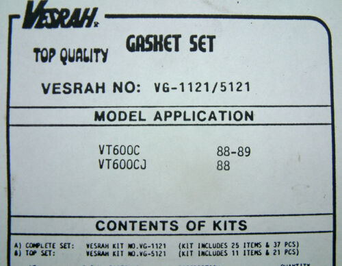 VESRAH COMPLETE Gasket set kit Honda VT600 CJ VT 600CJ Shadow 1988-89 VG-1121