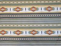 Navajo Indian Sage Green Tan Brown Border Print Cotton Fabric FQ