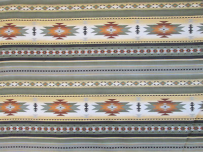 Navajo Indian Sage Green Tan Brown Border Print Cotton Flannel Fabric BTHY