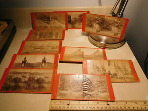 10 VINTAGE stereoview photo cards Moser Senior Germany scenes, churches, people