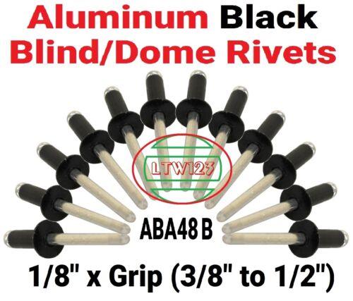 "50 3//8/"" to 1//2/"" Black All Aluminum  Rivets 1//8 x Grip ABA48Black"