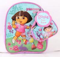 Dora The Explorer 10 Mini Backpack Bag With Coin Purse Light Blue Color