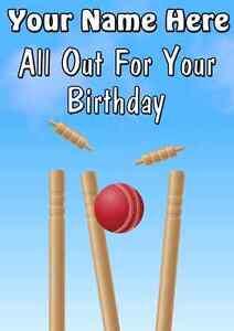 Cricket Sport Guichet Lui Carte A5 Personnalise Carte De Vœux Joyeux Anniversaire Ref340 Ebay