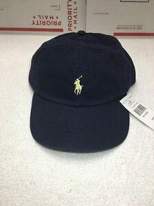 Polo Ralph Lauren Signature Pony Hat Navy Blue Yellow Pony Baseball ... 5fb835eed0ab