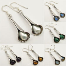 925 SOLID Silver Original Stones LONG Drop Earrings ! Online ART Jewelry Store