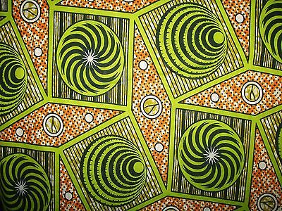 African Lime Spirals Print Fabric new BY 1/2 YD fancy wax ethnic p458