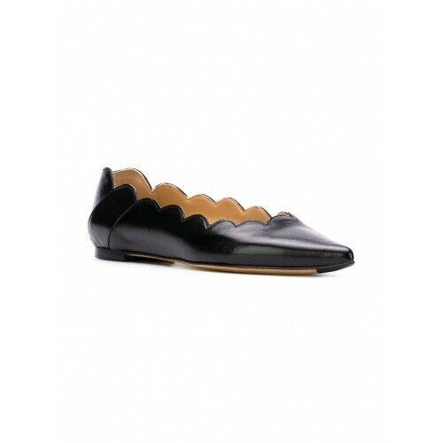 negozi al dettaglio NIB NEW NEW NEW Chloe Lauren nero leather pointy scalloped ballerina flats 39.5 9.5  grande sconto