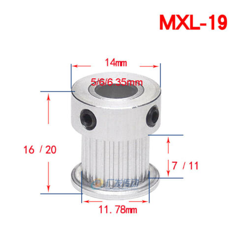 Bore 3mm-20mm For 6//10mm Width Belt MXL14T-40T Timing Belt Pulley With Step