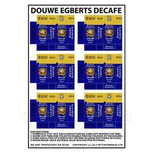 Maison de Poupées Miniature Emballage Feuille De 6 Douwe Egberts DECAFE  </span>