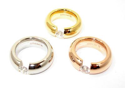Edelstahlring Spannring Damen Ring 9mm Silber Rose Gold Modern Zirkonia Steine Gute QualitäT