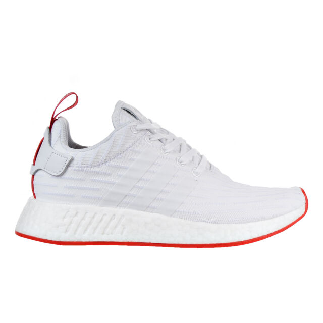 c2c2bddfc3f34 adidas NMD R2 PK Mens BA7253 White Red Primeknit Boost Running Shoes ...