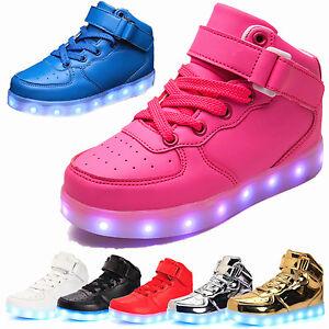 edv0d2v266 Boys Girls LED Light up Lace Up Luminous Sneakers Kids Casual Shoes