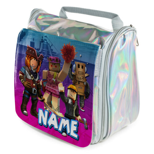 Personalised Girls Wash Bag GAMER Silver Toiletry Hanging Overnight Case Gift