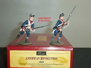 BRITAINS 18000 AMERICAN CONTINENTAL LINE NEW JERSEY REGIMENT CHARGING FIGURE SET