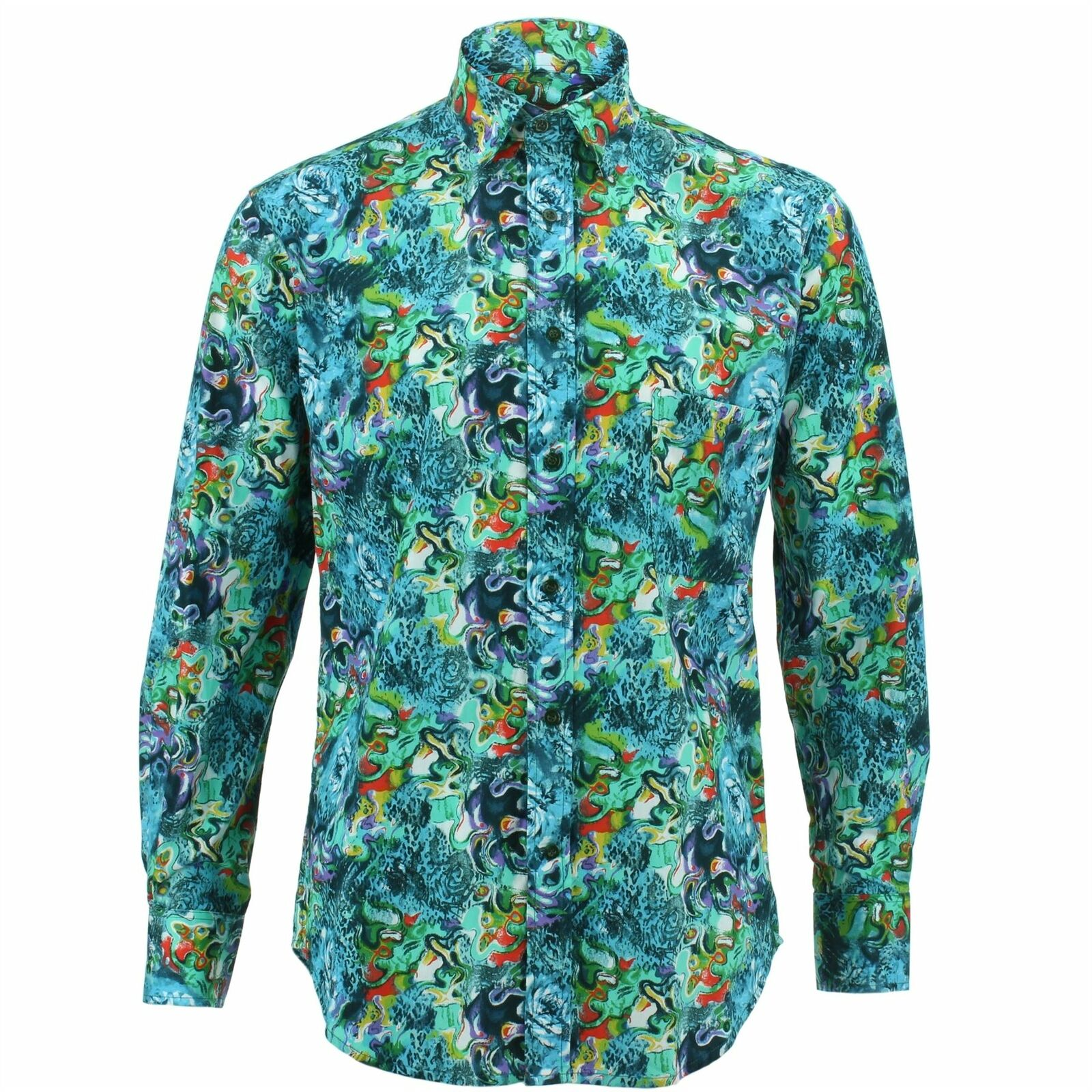 Mens Shirt Loud Originals REGULAR FIT Paint Green Retro Psychedelic Fancy