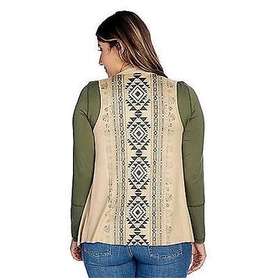 S L XL M NEW Indigo Thread Co Faux Suede Southwest Print Cascade Vest XS 1X