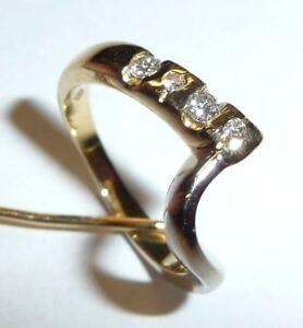 750-Gold-Ring-4-Diamanten-im-Brillantschliff-total-0-15-ct-RG-50-Italy-RG-50