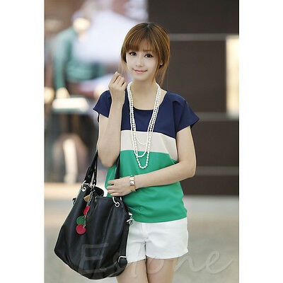 New Women Casual Chiffon Colors Collision Loose Short Sleeve T-Shirt Tops Blouse