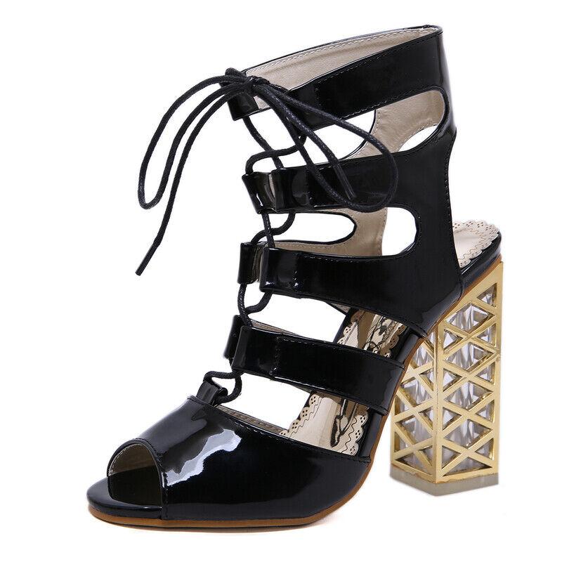 Elegant sandalen absatz quadrat schwarz Gold 12.5 cm elegant simil leder 1110