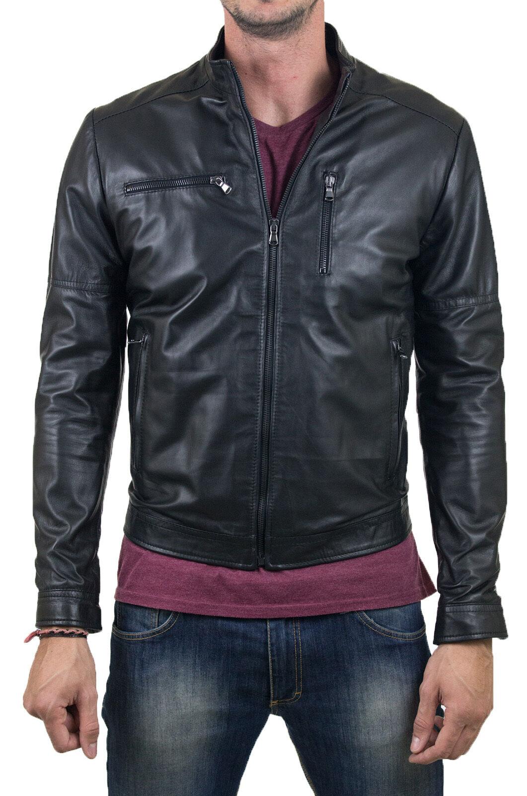 Abrigo de chaqueta de cuero para hombre DE Herren Lederjacke Biker Homme Veste En cuir T22