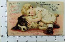 Hoyt's German Cologne & Rubifoam Adorable Child Hugging Cute Dog #F