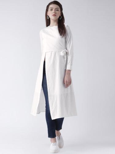 White Indian Designer Kurta Women Solid A-Line Kurta Cotton V-Neck 3//4 Sleeves