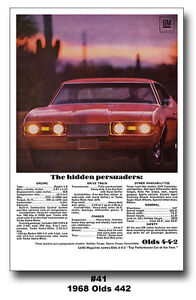 Details about 13x19 1968 OLDS 442 POSTER DR  OLDSMOBILE W-30 W-31 CUTLASS  4-4-2 AD ART PRINT