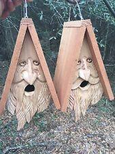 2 Wood Spirit rustic Old Man Face Hand Carved Cedar Bird House Birdhouses