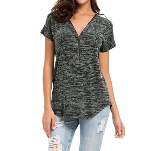 Damen Kurzarm Bluse T Shirt Reißverschluss V-Ausschnitt Tops Tunika Oberteil