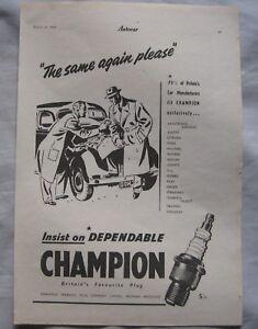 1950 Champion Spark Plugs Original advert No2 - Blackburn, Lancashire, United Kingdom - 1950 Champion Spark Plugs Original advert No2 - Blackburn, Lancashire, United Kingdom