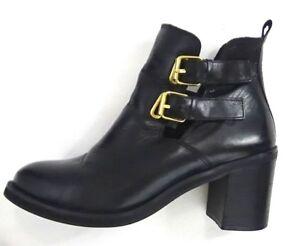 Détails sur JONAK Paris Femmes Bottine Cheville Bottes cuir noir boucle dorée EU 41 US 9 UK 7.5 afficher le titre d'origine