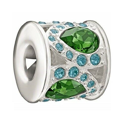 Chamilia Sterling Charm- Royal Petals Green & bluee Bead
