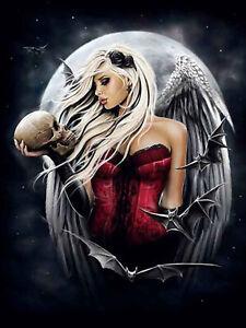 Full-drill-Diamond-Painting-Moon-Bat-Angel-Girl-Skull-Fashion-Handicraft-6860X