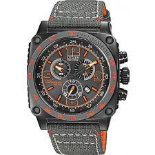 Citizen Eco-Drive Men's AT2288-03H Sqaure Chronograph Orange Accents 43mm Watch